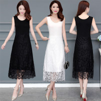 Dress Summer 2020 White [238], black [238], Burgundy [238], caramel [238], black [19355], Burgundy [19355], black [19803], white [19803], scarlet [19355], sapphire [19355] XL,2XL,3XL,4XL,5XL Mid length dress singleton  Sleeveless commute Crew neck middle-waisted Solid color Socket A-line skirt straps