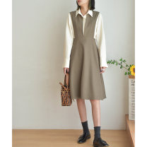 Dress Autumn 2020 grayish brown S M L longuette singleton  Long sleeves commute Polo collar High waist Solid color Socket A-line skirt routine 25-29 years old Zzlady Button More than 95% polyester fiber Polyester 100%