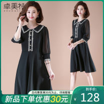 Middle aged and old women's wear Summer 2021 Black red XL XXL XXXL XXXXL XXXXXL fashion Dress easy singleton  Solid color 40-49 years old Socket moderate Polo collar Medium length routine ZMT20A32665 Dromett Button polyester Polyester 95% polyurethane elastic fiber (spandex) 5% longuette Chiffon