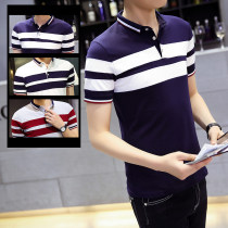 Polo shirt 4XL M L XL 2XL 3XL Fischer thin Youth epidemic Royal Blue White Grey DWX15611 Self-cultivation Other leisure summer Cotton 55% Polyester 40% Polyurethane Elastic Fiber (Spandex) 5% Short sleeve teens cotton young and energetic conventional two thousand and sixteen Non-iron treatment other