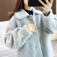 Wool knitwear Winter of 2019 Average size Blue, grey and Beige Khaki Long sleeves singleton  Cardigan nylon 81% (inclusive) - 90% (inclusive) Regular thick commute easy square neck routine Solid color Single breasted Korean version az19819 18-24 years old Anzoveve Pocket button with diamond