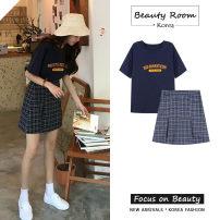 skirt Summer 2020 S,M,L,XL Short skirt commute High waist A-line skirt lattice Type A 18-24 years old 91% (inclusive) - 95% (inclusive) zipper Korean version