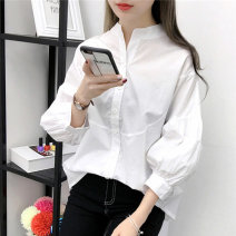 shirt white S,M,L,XL Autumn of 2019 cotton 81% (inclusive) - 90% (inclusive) Nine point sleeve commute Regular stand collar Single row multi button puff sleeve Solid color 18-24 years old Straight cylinder Korean version Stitching, folding cotton