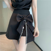 skirt Summer 2021 S,M,L Black skirt, white skirt, black skirt + black suspender top, white skirt + leather powder suspender top Short skirt commute High waist A-line skirt Solid color Type A Bowknot, diamond, tridimensional decoration, button, zipper, stitching Korean version