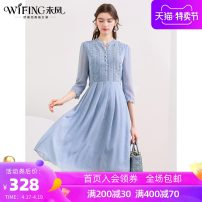 Dress Spring 2021 Blue - spot blue - 3 days in advance S M L XL XXL longuette singleton  three quarter sleeve commute High waist Solid color Socket A-line skirt routine 30-34 years old WiFi / Weifeng lady Cut out button zipper print More than 95% Chiffon polyester fiber Polyester 100%