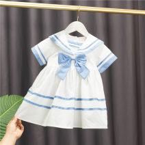 Dress Blue, pink female Baobao elephant 80cm,90cm,100cm,110cm,120cm Cotton 95% polyester 5% summer Korean version Short sleeve Solid color cotton A-line skirt Class A 12 months, 6 months, 9 months, 18 months, 2 years, 3 years, 4 years Chinese Mainland