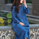 Dress Spring 2021 Malachite blue Average size Mid length dress singleton  Long sleeves commute Crew neck Loose waist Solid color Socket other routine Type X ethnic style 81% (inclusive) - 90% (inclusive) cotton