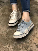 Low top shoes 35,36,37,38,39 Other / other Blue, white Round head top layer leather Flat heel Flat heel (1cm or less) Shallow mouth top layer leather Spring 2021 Boat shoes