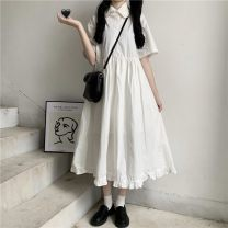 Dress Spring 2021 white Mid length dress singleton  Short sleeve routine Other Button, panel, solid color