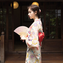 Dress Summer 2017 Design and color (two toe socks and handbags for free) S (for height 155 to 165), m (for height 165 to 175), baby is a one-piece kimono, waist cover is taken separately longuette Sweet Loose waist Decor Mountain birds and colors solar system