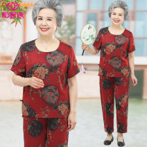 Middle aged and old women's wear Summer 2021 Red suit black suit XL [recommended 105 kg] 2XL [recommended 105-120] 3XL [recommended 120-135] 4XL [recommended 135-155] leisure time suit easy Two piece set Big flower Over 60 years old Socket moderate Crew neck routine routine HJY2103-911 He Jiayuan
