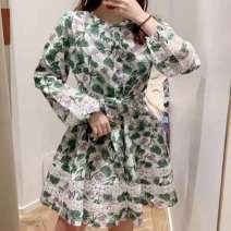 Dress Summer 2021 Picture color S,M,L Mid length dress singleton  Long sleeves Sweet V-neck Decor Socket A-line skirt 25-29 years old printing