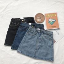 skirt Summer of 2019 S,M,L Black, light blue, dark blue Short skirt Versatile Natural waist A-line skirt other Type A 25-29 years old 31% (inclusive) - 50% (inclusive) other