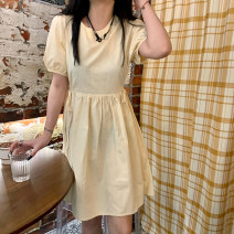 Dress Spring 2021 Apricot, black Average size Middle-skirt singleton  Short sleeve commute other other other 25-29 years old Type A 31% (inclusive) - 50% (inclusive)