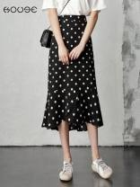 skirt Summer 2021 XXS,S,XL,2XL,3XL,XS,L,M Black, blue, white, khaki, broken flowers longuette commute High waist Ruffle Skirt Dot Type A 18-24 years old other Other / other Lotus leaf, wave point Korean version
