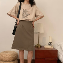 skirt Summer 2020 S, M Black, light brown Middle-skirt commute High waist A-line skirt Solid color Type A 18-24 years old 91% (inclusive) - 95% (inclusive) polyester fiber Retro