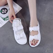 Sandals 35 36 37 38 39 40 Black white black upgrade white upgrade PU Moon and silk Barefoot Muffin bottom Low heel (1-3cm) Summer 2021 Trochanter leisure time Solid color Adhesive shoes Youth (18-40 years old) rubber daily Rear trip strap waterproof Lateral space PU cloth Fashion sandals Shaving