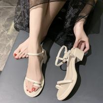 Sandals 35 36 37 38 39 Black off white off white upgrade black upgrade lotus upgrade PU Moon and silk Pinch toe Square heel Low heel (1-3cm) Summer 2021 Flat buckle Korean version Solid color Adhesive shoes Youth (18-40 years old) rubber daily Back space The Roman style of the platform Hollow PU PU