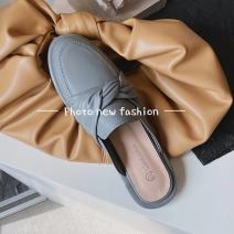 Sandals 35 36 37 38 39 40 Beige beige upgrade apricot upgrade grey blue grey blue upgrade PU Moon and silk Baotou Square heel Low heel (1-3cm) Summer 2021 Trochanter Korean version Solid color Adhesive shoes Youth (18-40 years old) rubber daily Back space Bow Roman style Lateral space PU PU