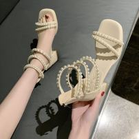 Sandals 35 36 37 38 39 Off white black PU Moon and silk Barefoot Square heel Low heel (1-3cm) Summer 2021 zipper Sweet Solid color Adhesive shoes Youth (18-40 years old) rubber daily Bag heel Roman style pearl Hollow PU PU Fashion sandals Pure e-commerce (online only)