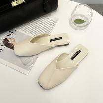 Sandals 35 36 37 38 39 40 Off white Khaki black PU Moon and silk Square head Flat bottom Flat heel (1cm or less) Summer 2021 Trochanter Korean version Solid color Adhesive shoes Youth (18-40 years old) rubber daily Back space Shallow Roman style Lateral space PU PU Fashion sandals