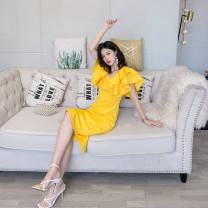 Dress Summer 2021 Yellow, white, red, black, color blue, pink S,M,L,XL Middle-skirt singleton  Short sleeve commute square neck High waist Solid color zipper One pace skirt Lotus leaf sleeve 25-29 years old Type H Retro zipper More than 95% other polyester fiber