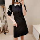Dress Spring 2020 black S,M,L Short skirt singleton  Short sleeve commute Polo collar High waist Solid color zipper Pencil skirt puff sleeve Others 18-24 years old Type A Retro 31% (inclusive) - 50% (inclusive) other cotton