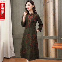 Dress Spring 2021 green L XL 2XL 3XL 4XL Mid length dress singleton  Long sleeves commute stand collar middle-waisted Decor Socket A-line skirt routine 40-49 years old Type A Ink Yilan Retro Three dimensional decorative button printing with embroidered pocket stitching S2101LYA21187 More than 95%