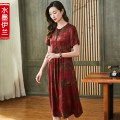 Dress Summer 2021 Red coffee L XL 2XL 3XL 4XL longuette singleton  Short sleeve commute Crew neck middle-waisted Decor Socket A-line skirt routine 40-49 years old Type A Ink Yilan Retro 3D printing of pocket stitching bead button zipper S2103SYF21033 More than 95% silk Mulberry silk 100%