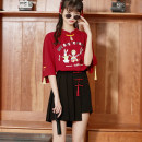 Sweater / sweater Summer 2021 Red top, Black Trouser skirt, top + trouser skirt two-piece set S,M,L,XL elbow sleeve routine Socket Upper and lower sleeve routine stand collar easy Sweet Solid color 18-24 years old 51% (inclusive) - 70% (inclusive) polyester fiber polyester fiber Mori