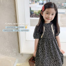 Dress black female Peach cream 90cm,100cm,110cm,120cm,130cm,140cm Other 100% summer Korean version Short sleeve Broken flowers Chiffon A-line skirt 21X64 Class A 2 years old, 3 years old, 4 years old, 5 years old, 6 years old, 7 years old, 8 years old