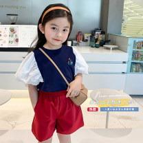 T-shirt blue Peach cream 90cm,100cm,110cm,120cm,130cm,140cm female summer Short sleeve Crew neck Korean version There are models in the real shooting other Splicing 21X13 Class A Two, three, four, five, six, seven, eight, nine