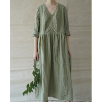 Dress Summer 2020 Grey powder skirt, Matcha green skirt Average size longuette singleton  elbow sleeve commute V-neck Loose waist Solid color Socket Big swing routine Type A literature More than 95% hemp
