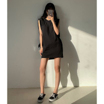 Dress Spring 2021 Black, greyish green, greyish green reservation, black reservation S, M Mid length dress singleton  Sleeveless street Crew neck Solid color Socket other 25-29 years old Type H iLEFT Q6035 31% (inclusive) - 50% (inclusive) other cotton