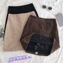 skirt Autumn 2020 S,M,L Black, apricot, coffee, custom made from 500 pieces Short skirt commute High waist A-line skirt Solid color Type A 18-24 years old 30% and below other other Korean version