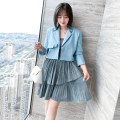 Dress Spring 2021 M,L,XL,2XL,3XL Short skirt Two piece set Long sleeves commute tailored collar High waist lattice Socket Cake skirt routine camisole Type X miuco Ol style fold