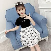 Dress female Amber Cotton 100% summer Korean version Short sleeve Solid color cotton A-line skirt Class B Summer 2021 2 years old, 3 years old, 4 years old, 5 years old, 6 years old, 7 years old, 8 years old, 9 years old, 10 years old, 11 years old, 12 years old