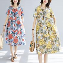 Dress Summer 2020 Yellow, orange M,L,XL,2XL Miniskirt singleton  Short sleeve commute Crew neck Loose waist Decor Socket A-line skirt routine Others Type A Korean version Splicing 81% (inclusive) - 90% (inclusive) hemp