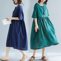 Women's large Summer of 2019 Green, blue Average size Dress singleton  commute easy Socket Short sleeve literature Medium length Other / other 25-29 years old 31% (inclusive) - 50% (inclusive)