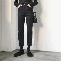 Women's large Winter of 2019, autumn of 2019 Black, black [Plush] M [95-108 Jin], l [108-118 Jin], XL [120-130 Jin], 2XL [130-140 Jin], 3XL [140-150 Jin], 4XL [150-160 Jin], s [85-95 Jin] trousers singleton  commute Straight cylinder moderate Solid color Korean version Denim Three dimensional cutting