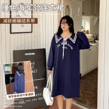 Women's large Spring 2021 blue Large XL, large XXL, large XXL, large XXXXL, large XXXXL Dress other Words / numbers nylon printing and dyeing My love 25-29 years old Bandage 51% (inclusive) - 70% (inclusive)