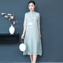 Dress Spring 2021 S,M,L,XL,2XL Mid length dress singleton  three quarter sleeve commute stand collar Loose waist Decor Socket A-line skirt routine Others Type A Retro 51% (inclusive) - 70% (inclusive) other other
