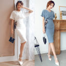 Dress Summer 2020 Black, gray, white XS,S,M,L,XL,2XL,3XL Mid length dress Two piece set Short sleeve commute V-neck High waist Solid color Socket Pencil skirt Sleeve Others 25-29 years old T-type Ol style 31% (inclusive) - 50% (inclusive) brocade polyester fiber