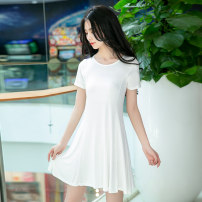 Nightdress Think of Yanchen White, light gray, black, apricot [80-100kg] m, [100-120kg] l, [120-140kg] XL, [140-160kg] XXL Simplicity Short sleeve pajamas Middle-skirt summer Solid color youth Crew neck viscose  More than 95% Modal fabric 200g and below