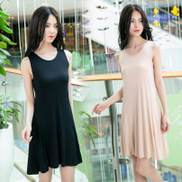 Nightdress Think of Yanchen White, black, light gray, apricot [80-100kg] m, [100-120kg] l, [120-140kg] XL, [140-160kg] XXL Simplicity Sleeveless pajamas Middle-skirt summer Solid color youth viscose  More than 95% Modal fabric 200g and below
