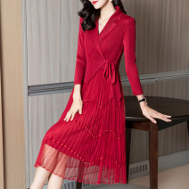 Dress Spring 2021 Lake blue red purple blue black S/155 M/160 L/165 XL/170 XXL/175 XXXL/180 Mid length dress singleton  three quarter sleeve street tailored collar middle-waisted Solid color Socket A-line skirt routine Others 30-34 years old Type A JMFIVE JMSP21CZSP038 More than 95% polyester fiber