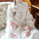 Dress Autumn of 2019 Lu Binghua, full of stars S,M,L Mid length dress singleton  Long sleeves Sweet stand collar High waist Decor A button A-line skirt bishop sleeve 18-24 years old Type A Chestnut / chestnut Embroidery, pockets, stitching, buttons More than 95% cotton Mori