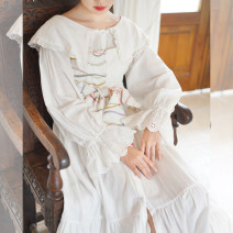 Dress Spring 2020 Moonlight purple, breeze white S,M,L longuette Long sleeves commute Lotus leaf collar Loose waist Single breasted A-line skirt routine 18-24 years old Type A Chestnut / chestnut cotton