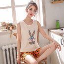 Pajamas / housewear set female Other / other M (80-95), l (95-110), XL (110-120), XXL (120-130), 3XL (130-145), 4XL (145-160) cotton Sleeveless Sweet Leisure home summer Thin money Crew neck Cartoon animation shorts Socket youth 2 pieces rubber string More than 95% Knitted cotton fabric printing
