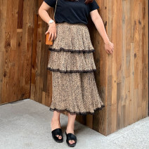 Women's large Summer of 2019 Leopard Print skirt singleton  commute easy moderate Leopard Print Korean version polyester Other / other fungus 96% and above Medium length